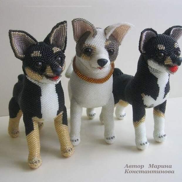 Великолепные собачки из бисера Марины Константиновой