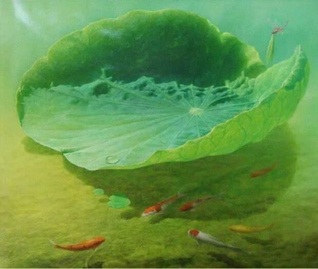 Jiang Debin. Цветы акварелью. Spiritual Lotus Pond. 110х100