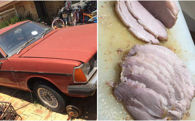 Автомобиль как духовка: автовладелец ухитрился запечь в нем кусок сочного мяса