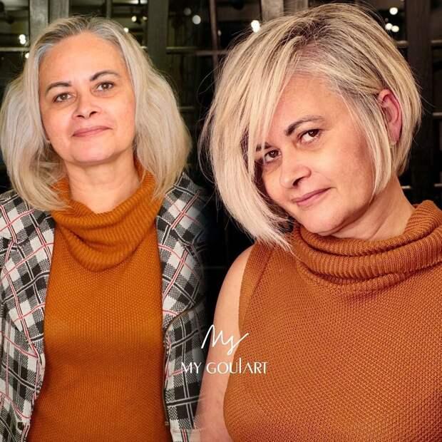 14 безупречных коротких стрижек с челкой для леди 40-50 лет 2021