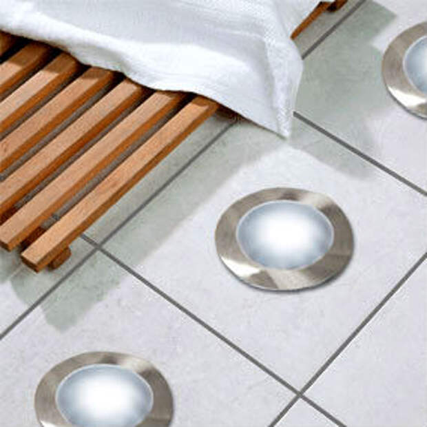 напольное освещение в маленькой ванной комнате