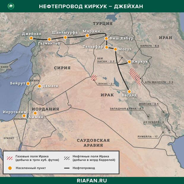 Карта нефтепровода Киркук — Джейхан