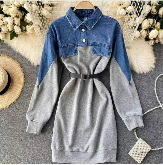 Полуджинсовое платье