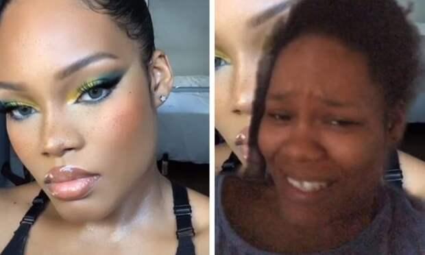 темнокожая девушка с макияжем и без