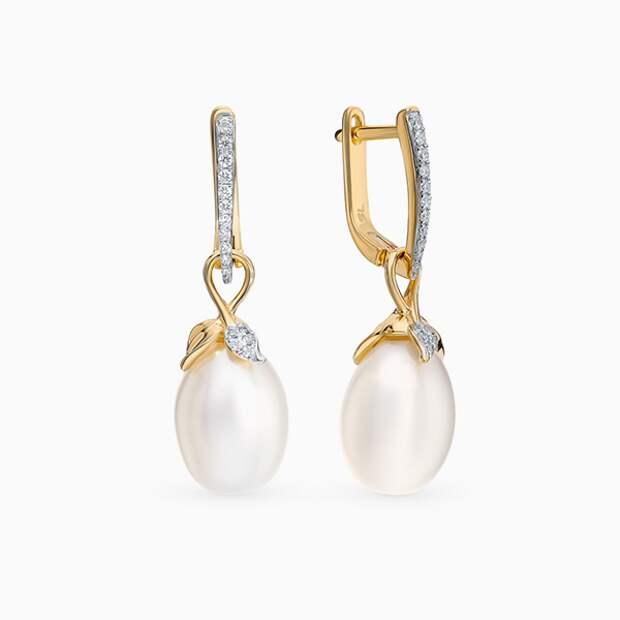 Серьги SL, желтое золото, жемчуг, бриллианты