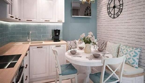 Пастельные и пудровые тона идеально подходят для дизайна интерьера маленькой кухни. | Фото: womanadvice.ru.