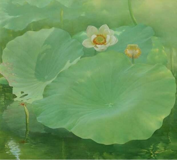Jiang Debin. Цветы акварелью. Лотос восемнадцатый. 100х110