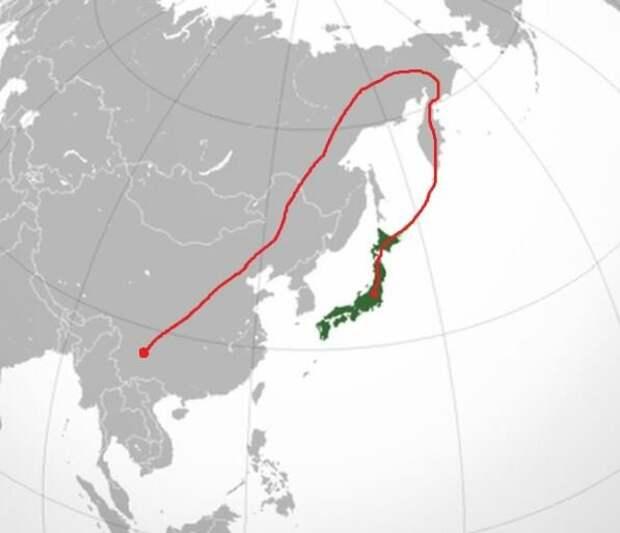 Примерный маршрут миграции юньцев, а затем - чукчей