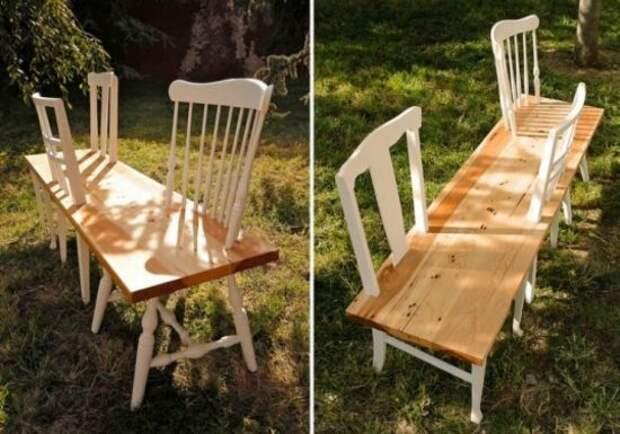 Лавка из старых стульев