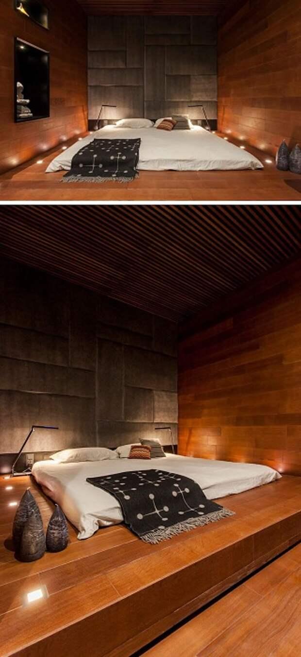 Оригинальные решения для спальни: кровати на деревянных платформах