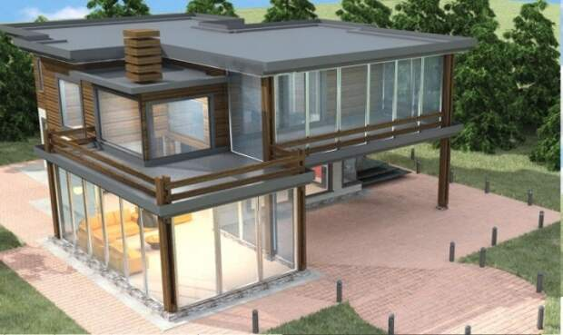 В полной мере назвать это строение деревянным домом не получится, так как большая часть дома - это стекло и металл. Но только благодаря дереву строение стало более живым и природным.