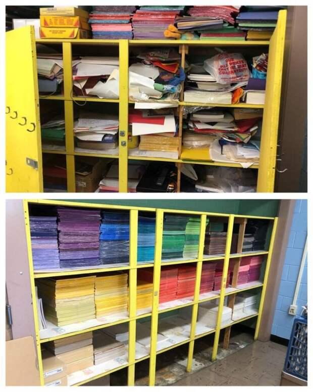 Это шкаф учительницы рисования. Сразу видно, чья работа!
