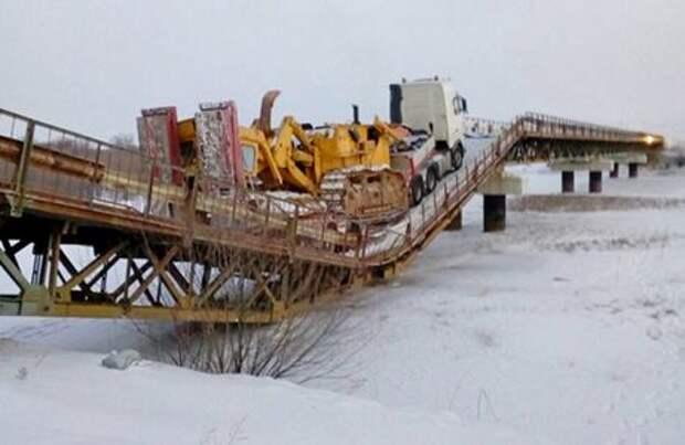 Перегруженный автопоезд разрушил мост в Бурятии