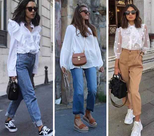 С чем, куда и как правильно носить белую блузку