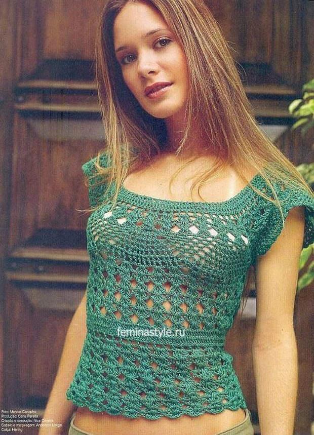 Ажурный пуловер с круглой кокеткой крючком