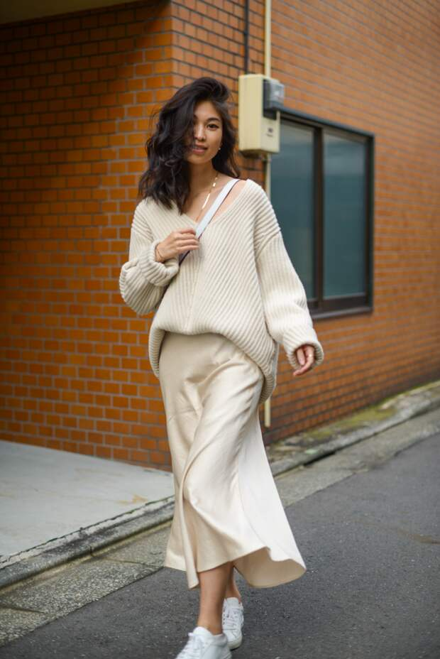 Как носить свитер-оверсайз зимой 2020-2021 и выглядеть стильно: простые комбинации
