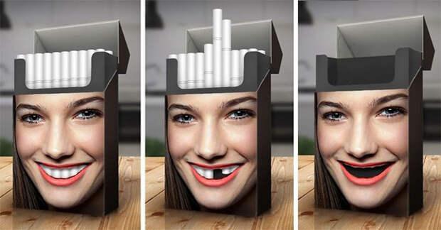Сигаретная пачка, наглядно демонстрирующая вред курения.