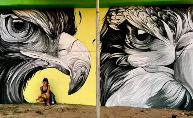 Девушка рисует на городских стенах по всему миру гигантских птиц - реалистичные и фантастически красочные граффити