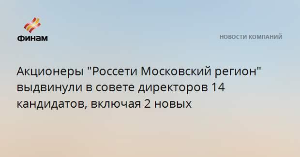"""Акционеры """"Россети Московский регион"""" выдвинули в совете директоров 14 кандидатов, включая 2 новых"""