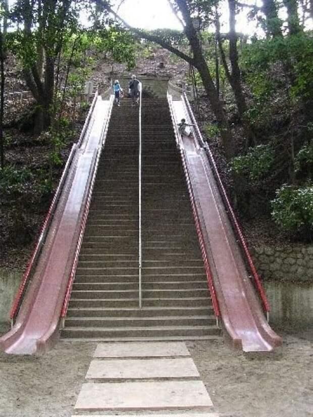 2. Лестница с горками быт, жизнь, идея, изобретение, мир, подборка, фото