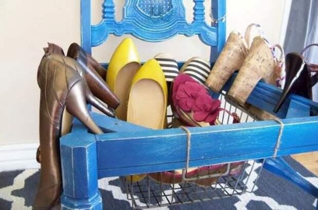 Корзина для обуви из старого стула