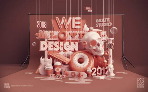 Потрясающая 3D-типографика