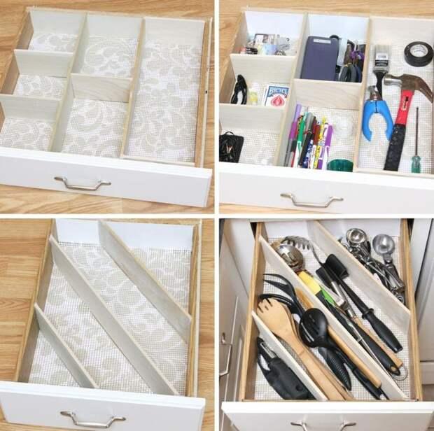 Порядок в выдвижном ящике на кухне