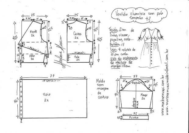 Выкройка летнего платья с кокеткой на талии