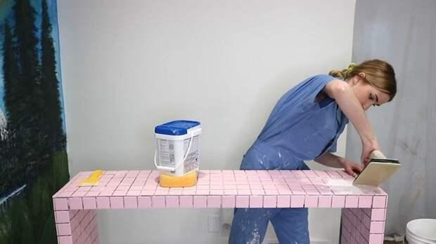 Модный стол-консоль: просто берёте три доски и готовую мозаику