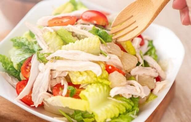Отменный салатик с курицей и помело