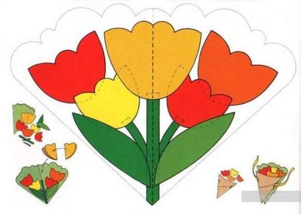 Праздничная открытка своими руками, поделки из бумаги к 8 марта