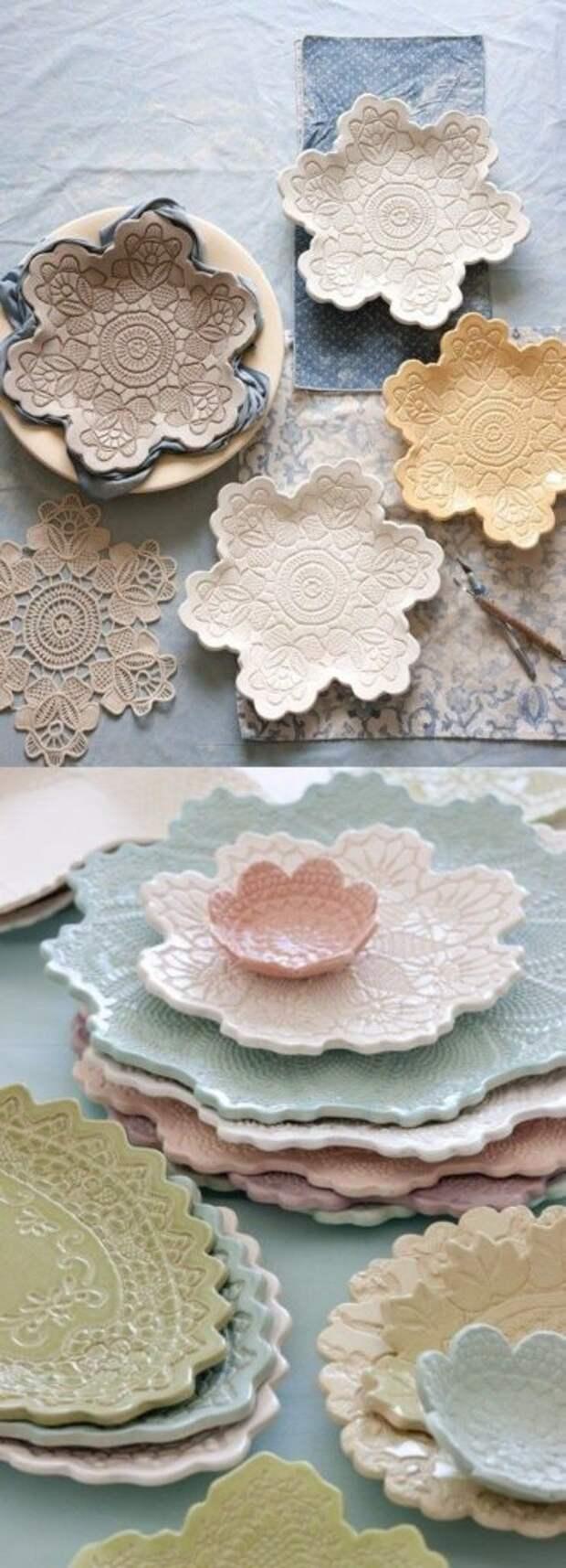 Мастер-класс по изготовлению глинянных тарелок в виде кружевных салфеток