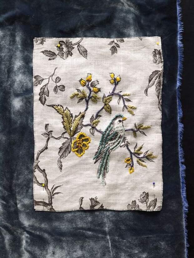 Вышивка по рисунку ткани
