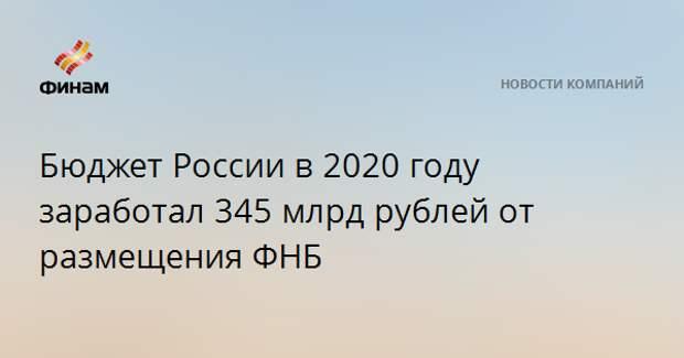 Бюджет России в 2020 году заработал 345 млрд рублей от размещения ФНБ