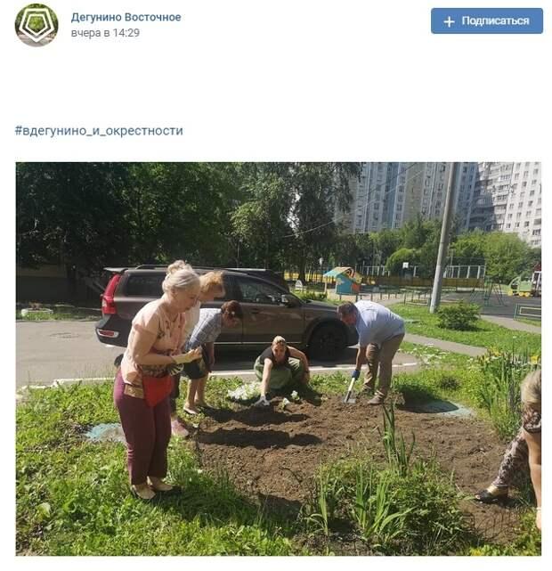 Фото дня: жители облагораживают двор в Дегунине