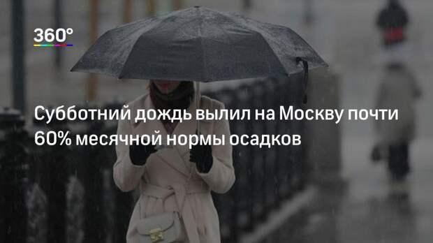 Субботний дождь вылил на Москву почти 60% месячной нормы осадков
