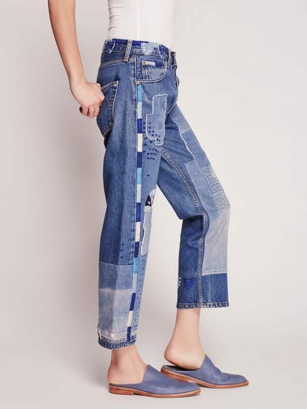 джинсы пэчворк