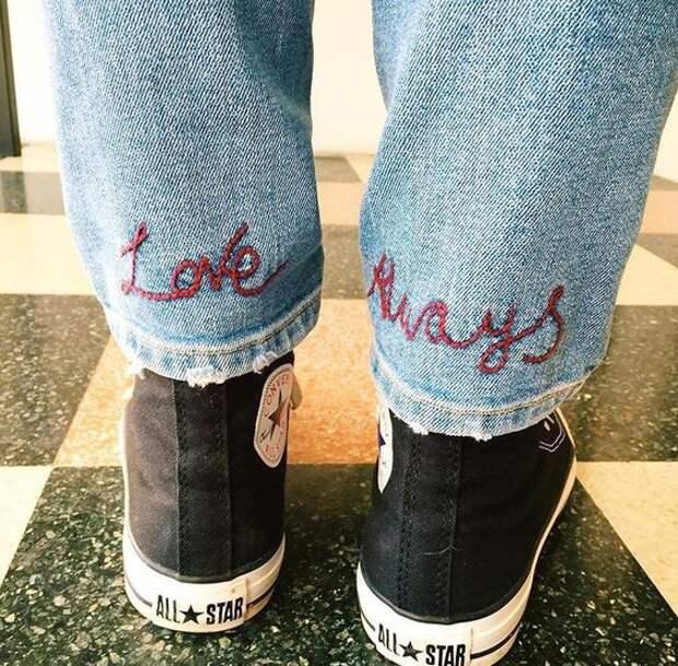 Вышивка - надпись по низу джинсов (подборка)