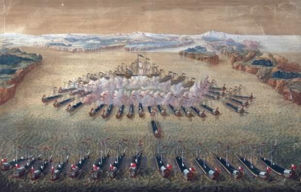 Гангутское сражение. Гравюра Маврикия Бакуа. 1724—1727