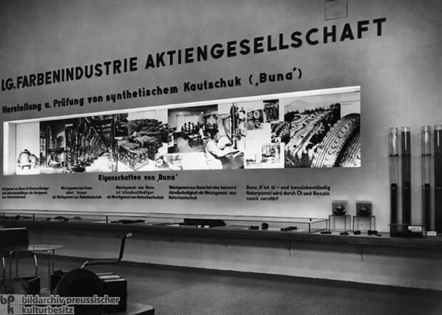 Выставка ИГ Фарбен посвящённая синтетическому каучуку, 1936-й год. Источник