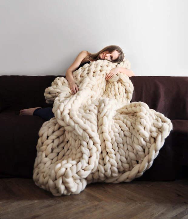 Одеяло крупной вязки вязание, новый год, подарки