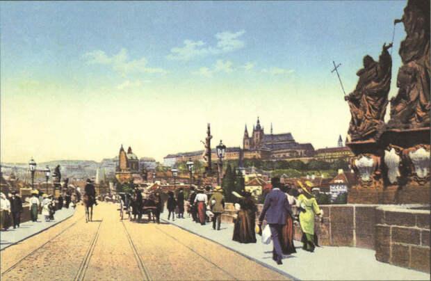 Ретро фотографии Карлова мост (вид на Градчаны, 1900 г.). | Фото: rovdyrdreams.com.