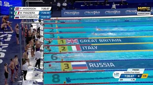 Российская сборная выиграла бронзовые медали в смешанной эстафете 4×200 м вольным стилем на ЧЕ