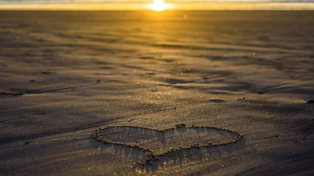 Сердце, Любовь, Песок, Закат, Вечер, Вечерний Закат