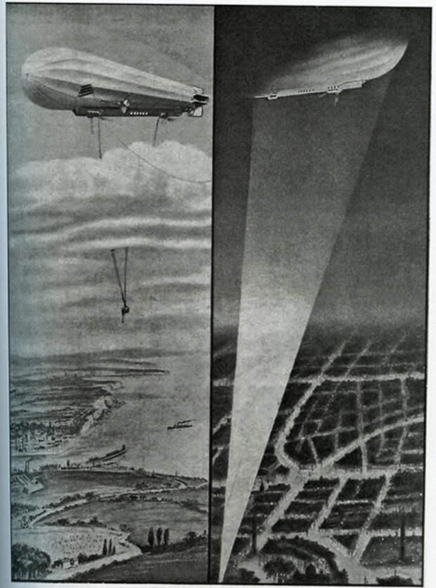 Германские цеппелины над Антверпеном. Слева видна спускаемая гондола с наблюдателем и бомбометателем