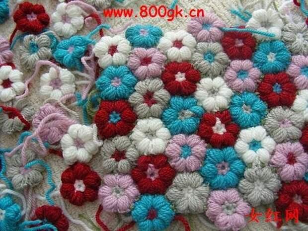 Цветочки крючком для вязания пледов, покрывал, подушек и сидушек (15) (500x375, 164Kb)