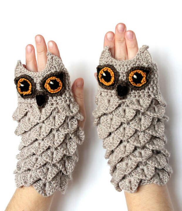 Перчатки-совы вязание, новый год, подарки