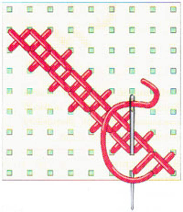 Вышивка крестиком по диагонали. Двойная диагональ справа налево (фото 17)