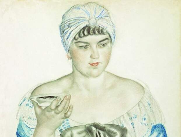 Б. Кустодиев. Купчиха за чаем, 1918. Эскиз | Фото: art-catalog.ru