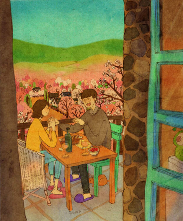 Любовь - это обедать вместе в романтической обстановке.